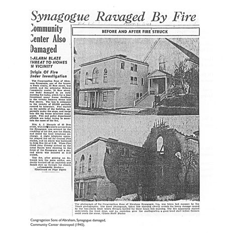 Fire destroys synagogue 1945 Temple B'nai Abraham Beverly MA